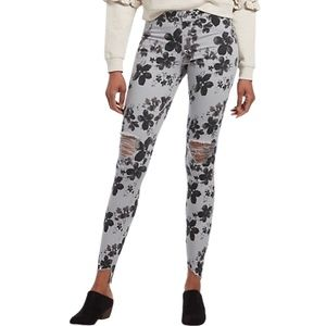 HUE Ripped Knee Grey Floral Skinny Pants Raw Hem L